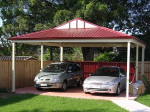 Dutch gable double metal carport