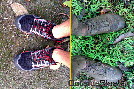 My shoes, before and after the race
