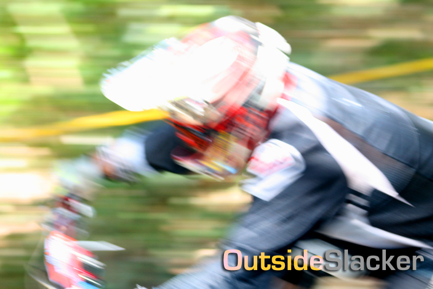 Downhill racer motion blurred