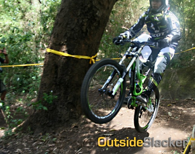 Downhill racer lands