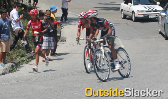 LBC's Franciso Ramos and 7-Eleven's Ryan Tugawin charge up the mountain during Le Tour De Filipinas 2013 Stage 3