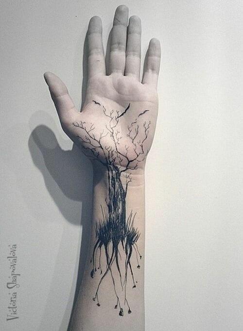 Hand Tree Tattoo