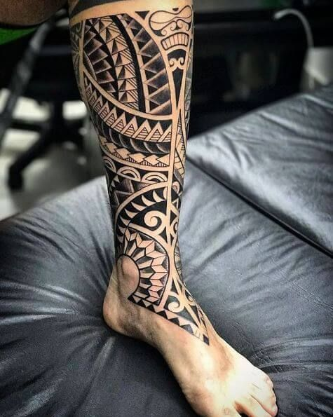 Polynesian Leg Tattoo Sleeve