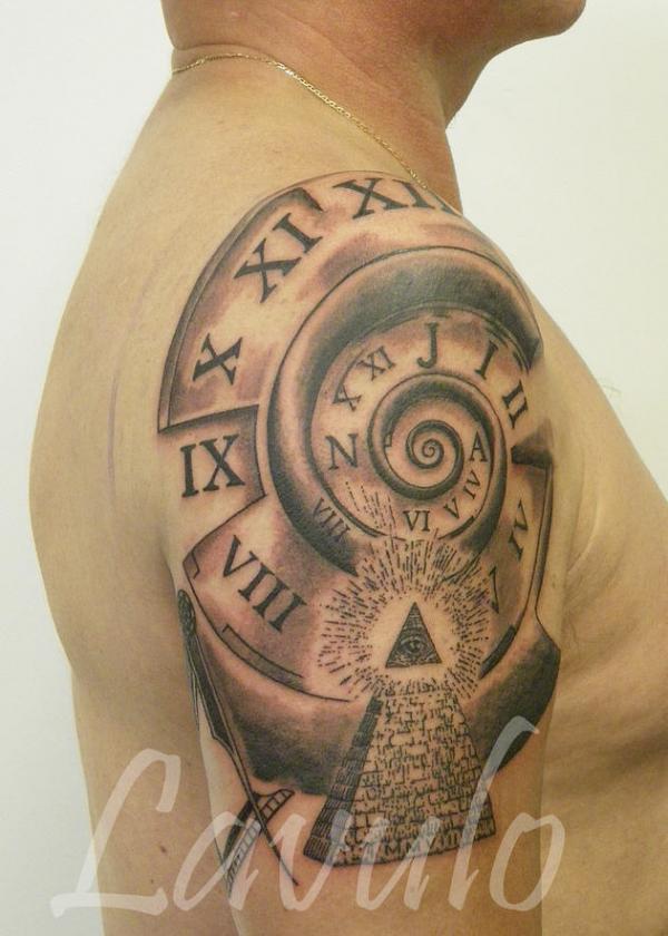 spiral compass tattoo