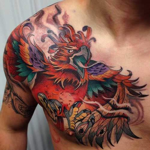 Colourful Phoenix Chest Tattoo