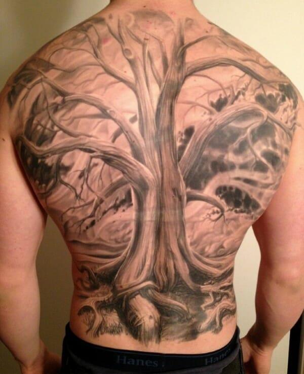 3D Realistic Tree Back Tattoo