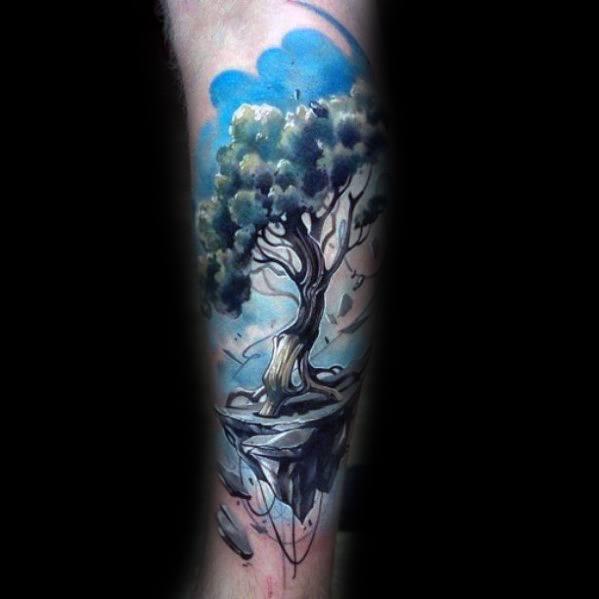 3D Watercolour Tree Leg Tattoo