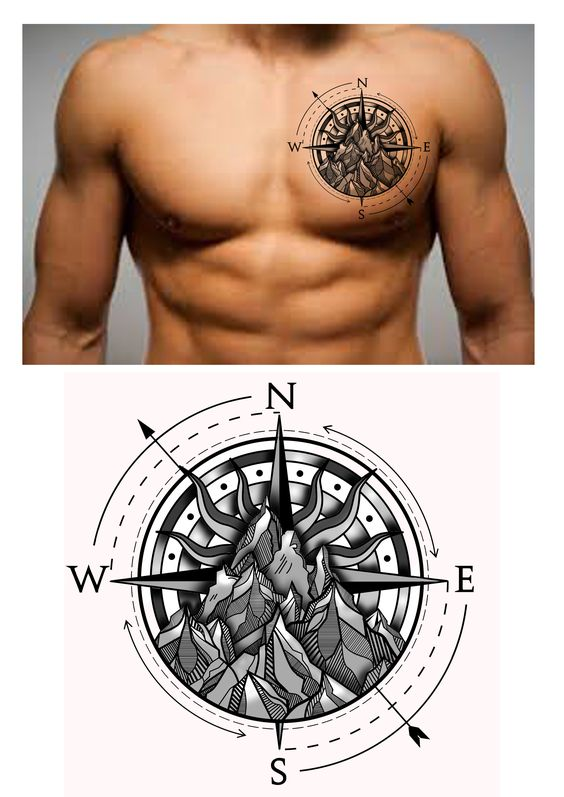 Rocky Compass Tattoo