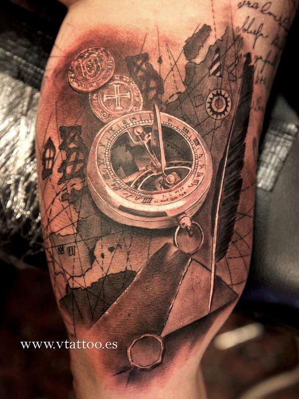 Great Compass Leg Tattoo