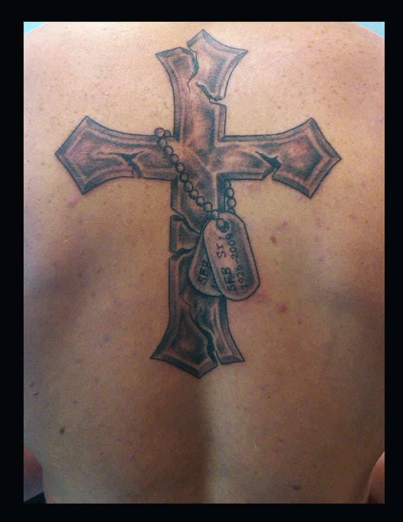 Cross Design Back Tattoo