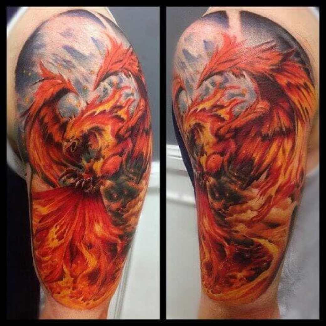 Classic Flaming Phoenix Tattoo