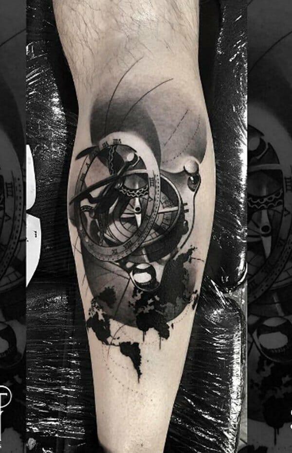 Compass Leg Tattoo