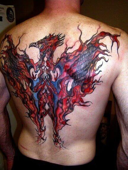 Fire Phoenix Back Tattoo
