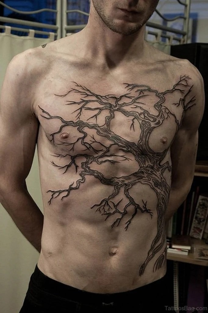 Cool Tree Chest Tattoo