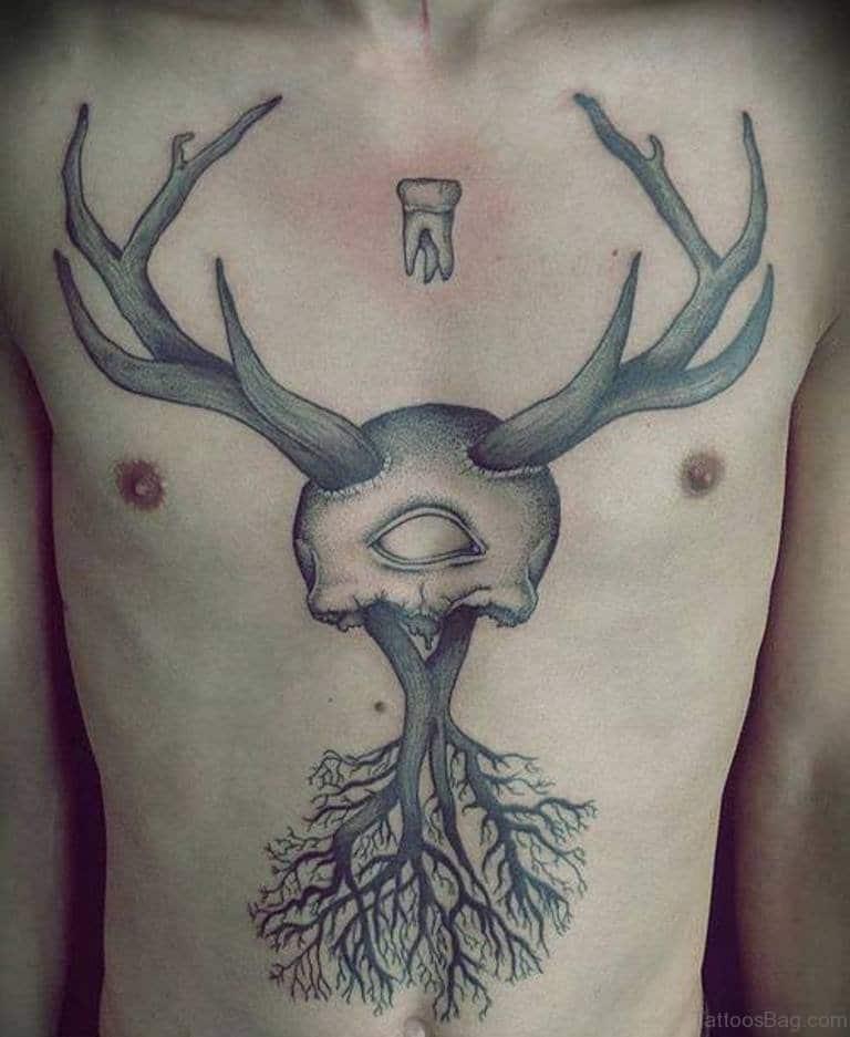 Tree & Deer Skull Tattoo