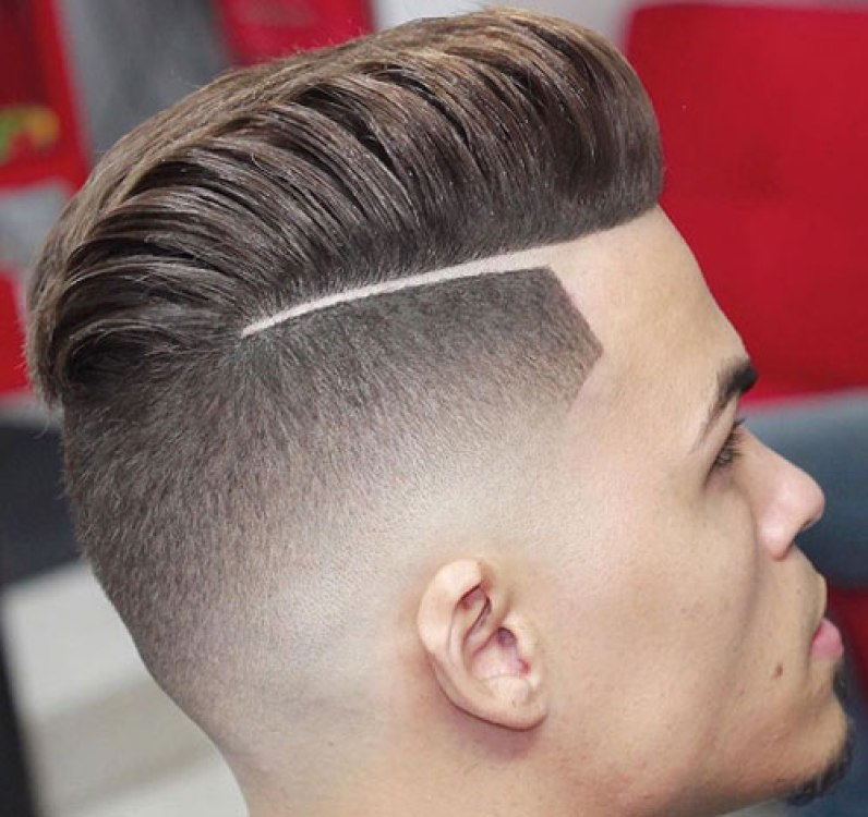 Hard Part Pompadour with Mid Bald Fade