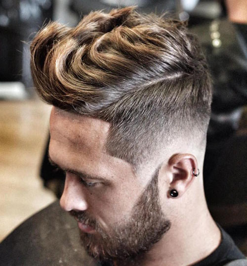 High Fade with Thick Medium Hair Quiff & Full Beard