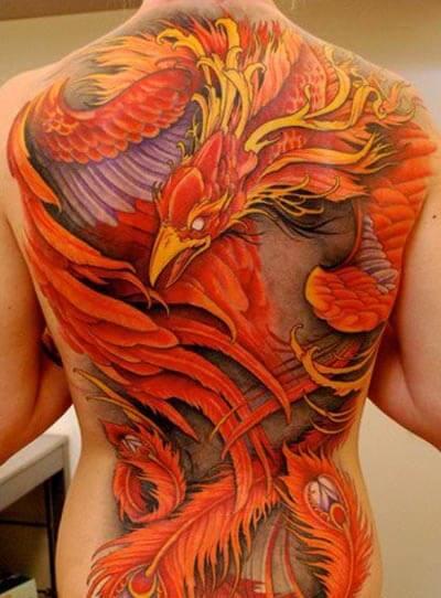 Full Phoenix Back Tattoo