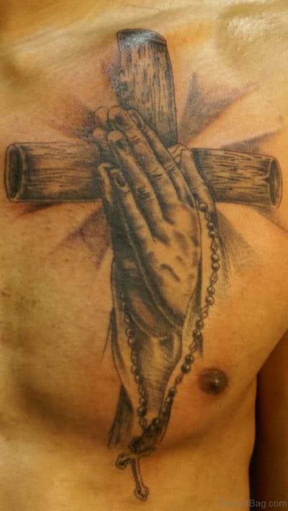 Praying Hands Cross Tattoo