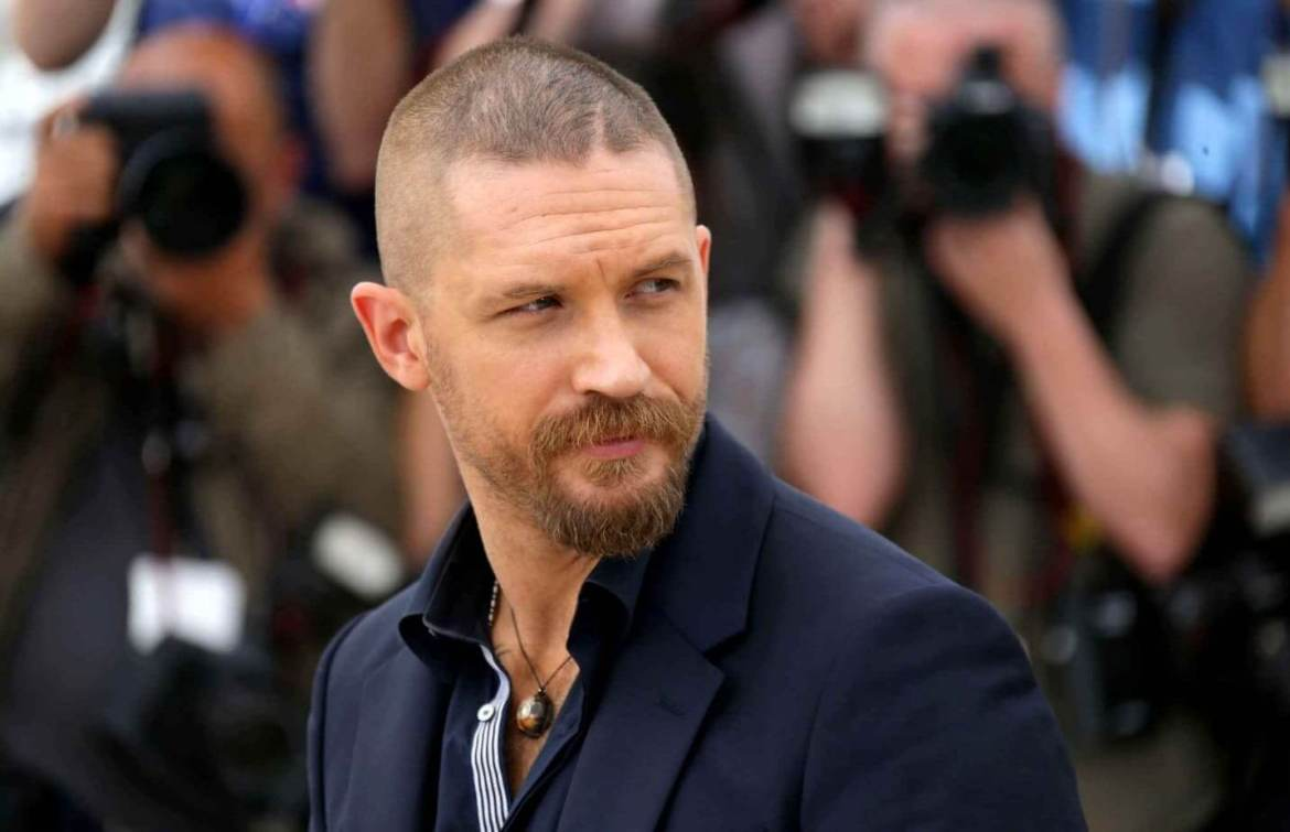 Tom Hardy in black jacket with Buzzcut Fade