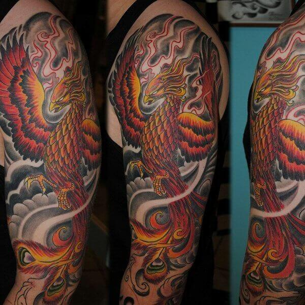 Rising Phoenix Sleeve Tattoo