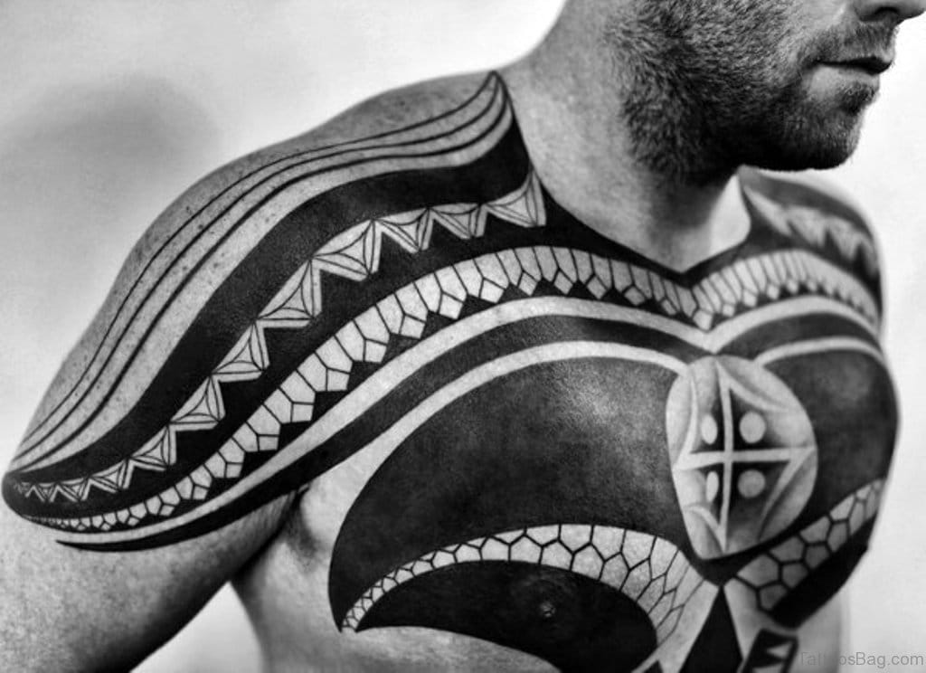 Tribal Abstract Chest Tattoo