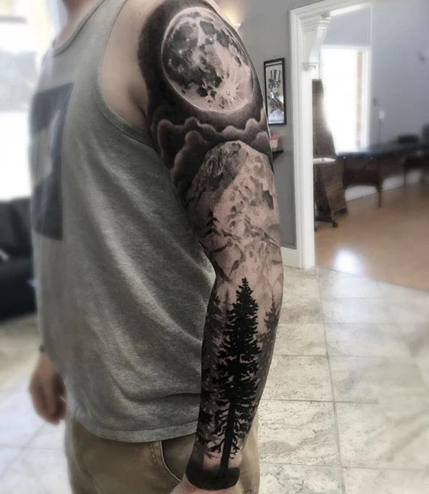 Full Tree Arm Sleeve with Moon & Mountains