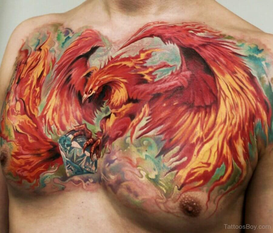 Colourful Phoenix Chest Tattoo