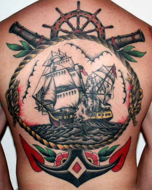 Anchor with Ship Traditional Back Tattoo