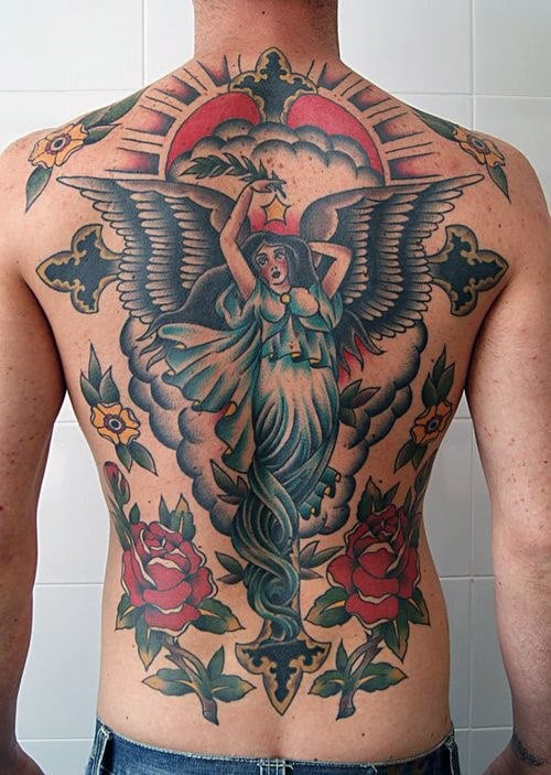 Angel Traditional Back Tattoo