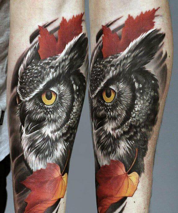 Black & Red Mens Owl Tattoo