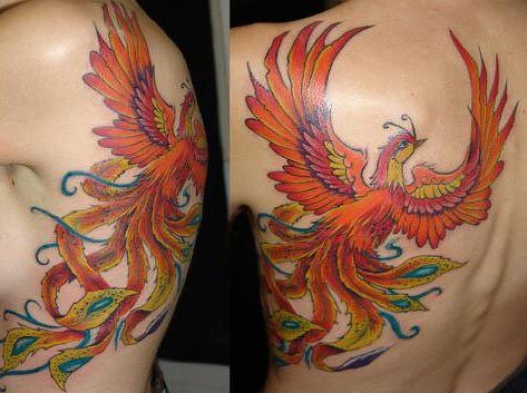 Coloured Flying Phoenix Back Tattoo