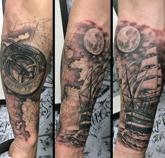 compass ship tattoo