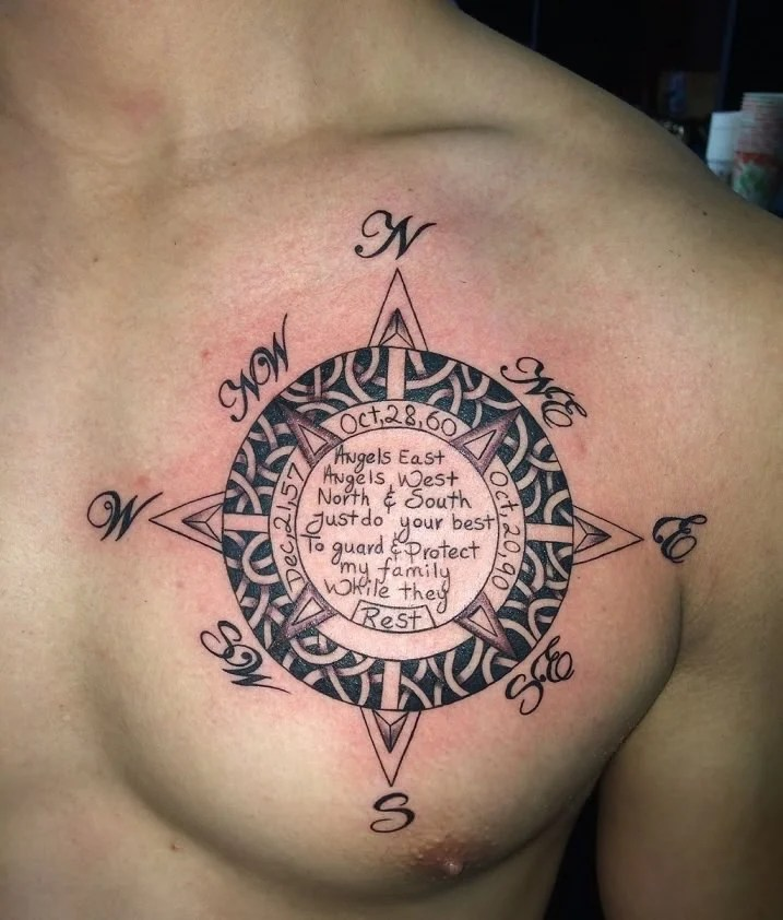 Cool Compass Chest Tattoo