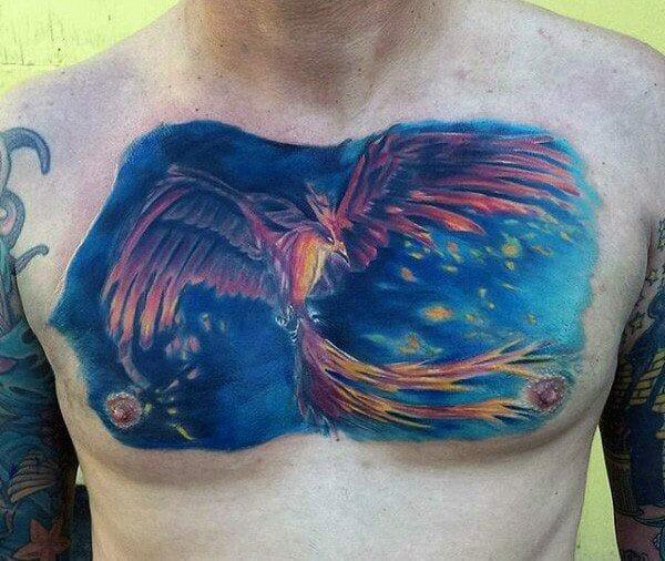 Cool Blue Sky Phoenix Chest Tattoo
