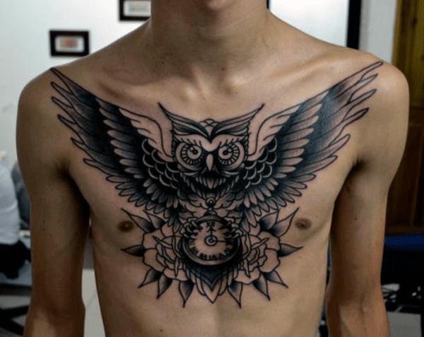 Cool Tribal Chest Owl Tattoo