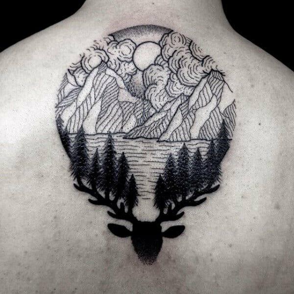 Pine Tree Back Tattoo