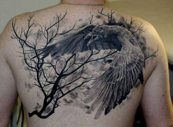 Crow & Tree Back Tattoo