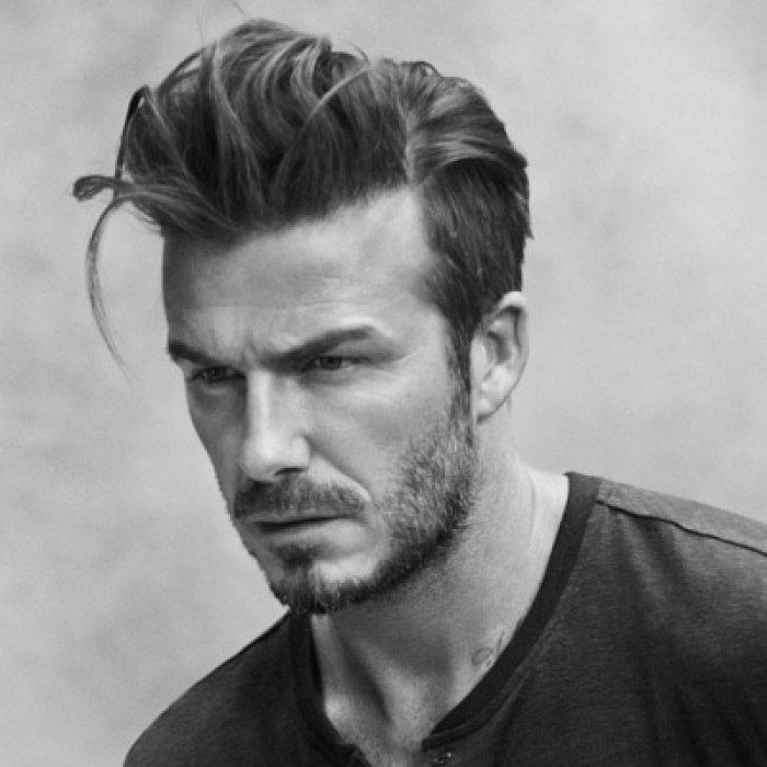 David Beckham with messy pompadour hairstyle