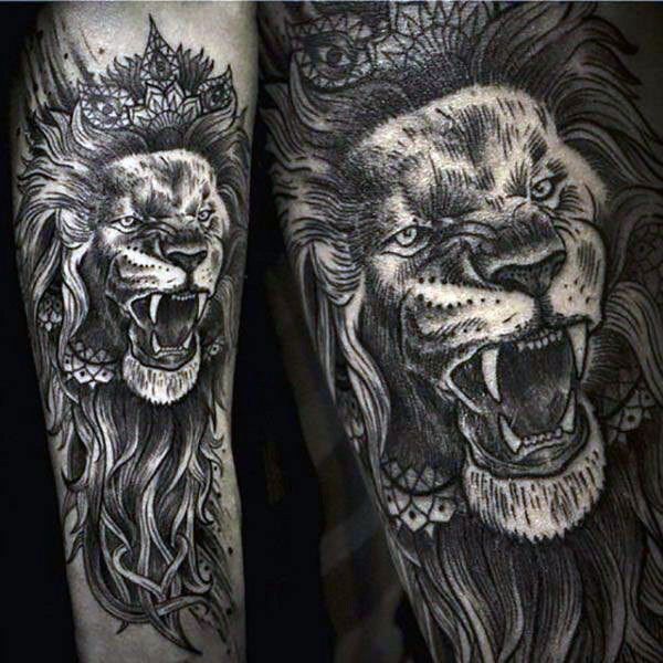 Detailed Awesome Lion Tattoo