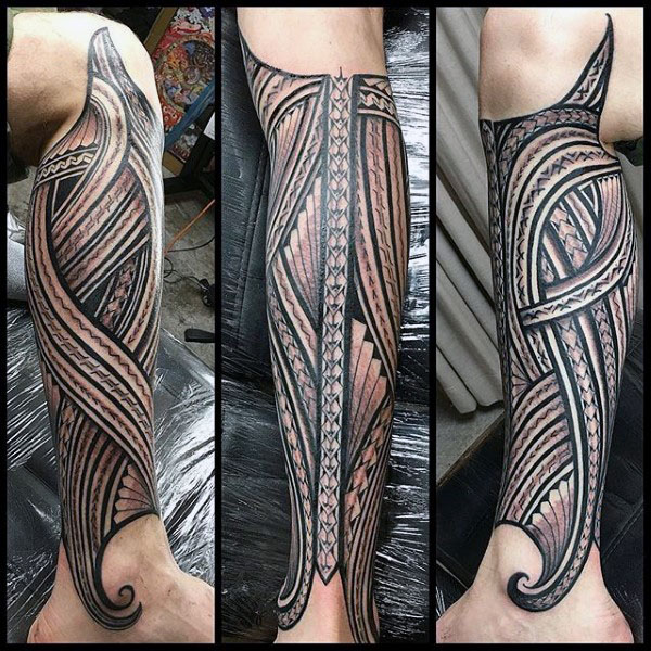 Leg Sleeve Tribal Tattoo