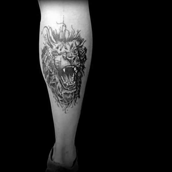 Abstract Lion Tattoo Design