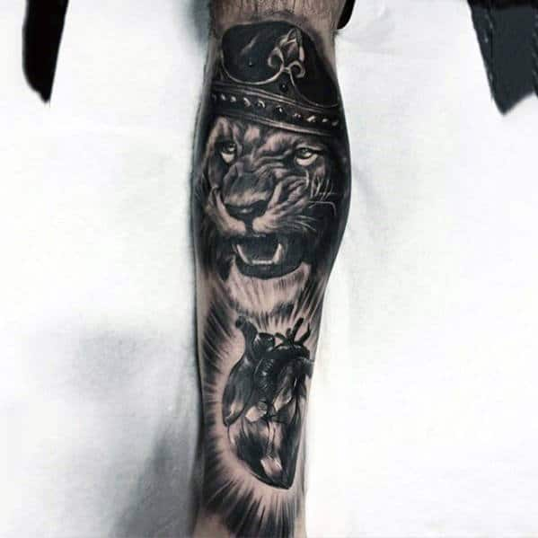 3D Realistic Lion Crown Tattoo