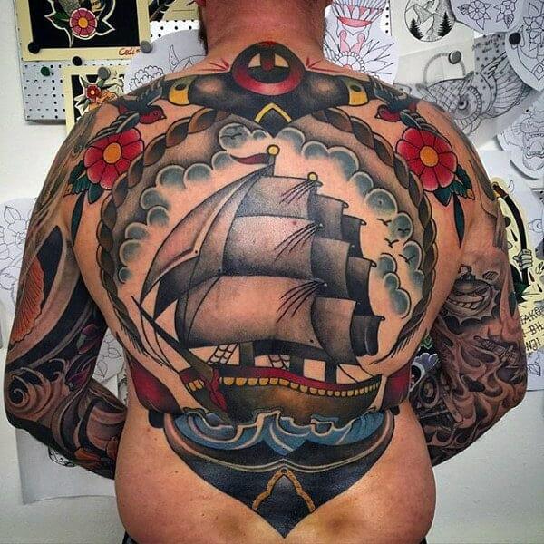 Ship & Anchor Tattoo