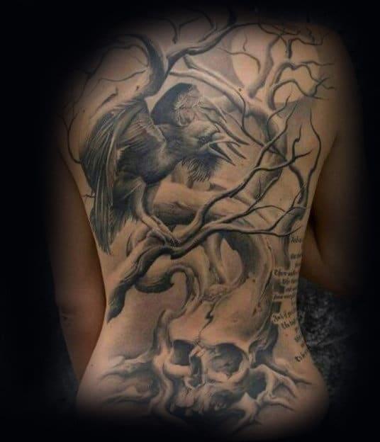 Crow, Skull & Tree Tattoo