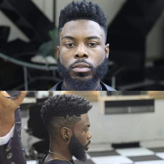 high top afro with pattern