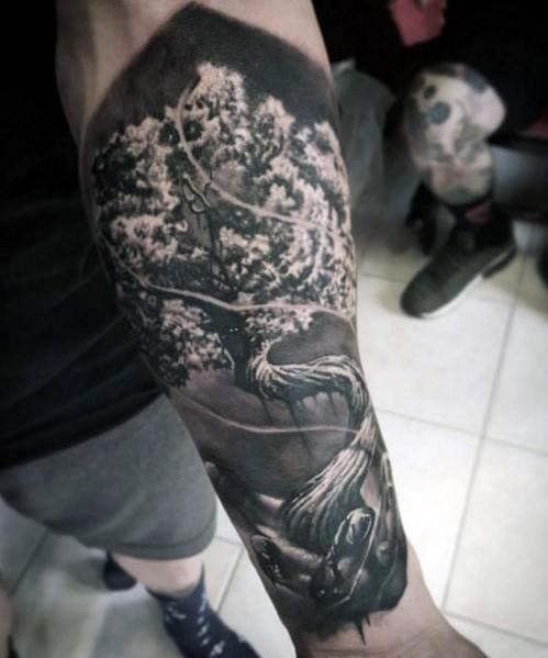 Hyper Realistic Tree Tattoo