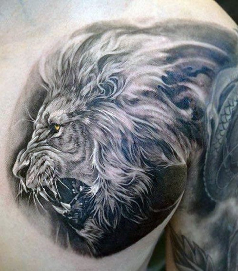Lion On Chest Mens Tattoo