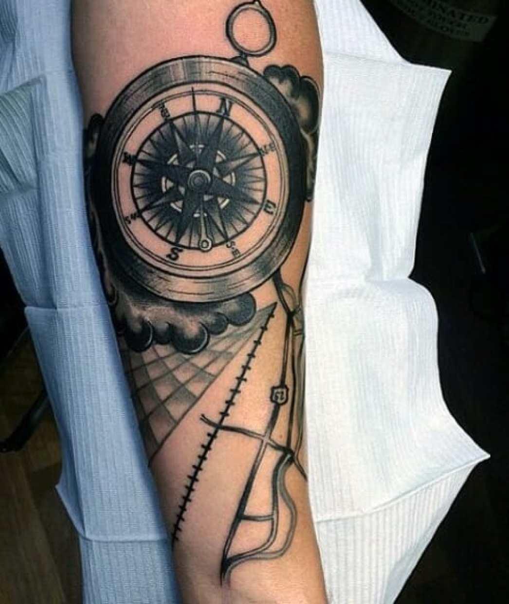 map compass arm tattoo