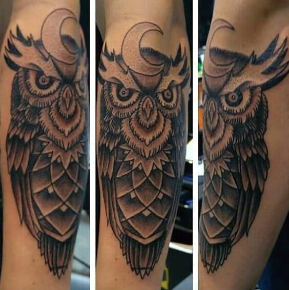 Evil White Owl Tattoo